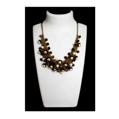 Womens Bronze Color Fancy Fashion Necklace with White Stones