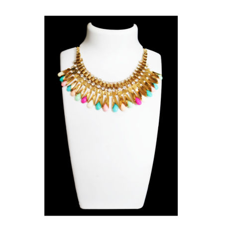 Womens Gold Color Fancy Fashion Necklace with Multi color Stones