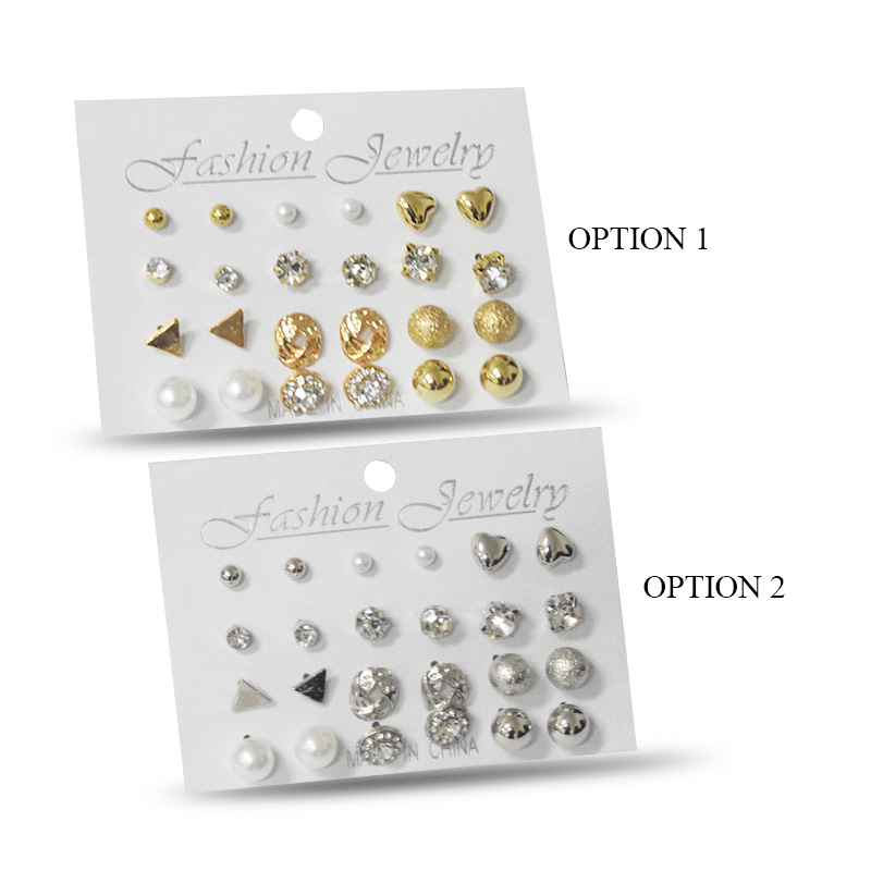 Crystal Stud Earrings 12 Pcs Set