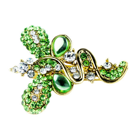 Womens Fashion Saree Pins with Green Stones