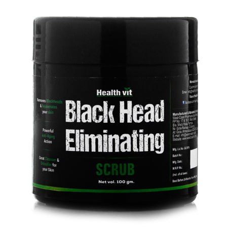 Health Vit Activated Charcoal Black Head Eliminating Scrub 100g