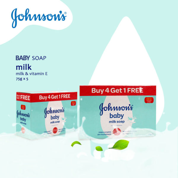 Johnsons Baby Milk Soap with Vitamin E 75g (5 Bars) – BSP578