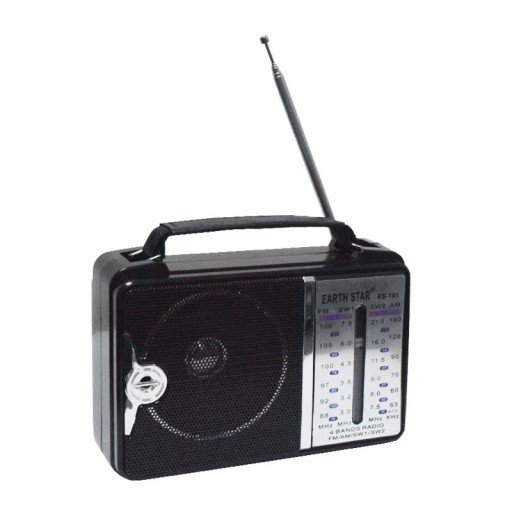 Earth Star ES-101 Portable Radio with Leather Carry Handle AC/DC 4-Band