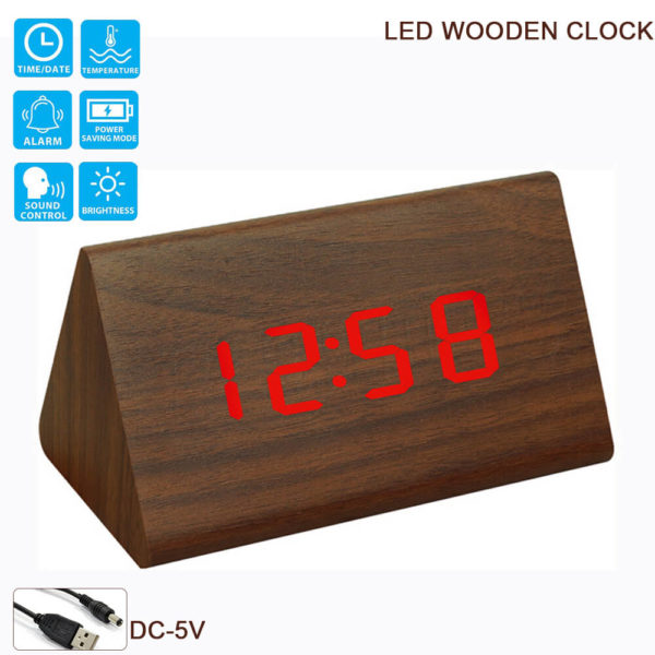 LED Wooden Clock Alarm Sensor WAC057