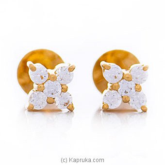 Vogue 22K Stud Earrings Set With Cubic Zirconia Rounds