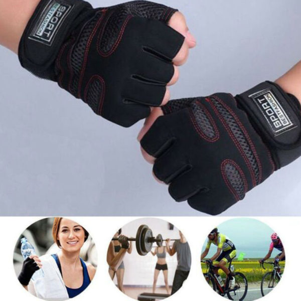 Sports Gym Fitness Workout Weigh Lifting and Bike Riding Half Finger Gloves
