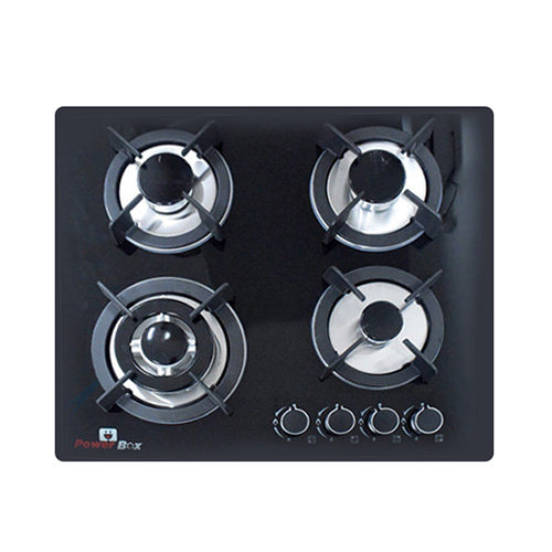 PowerBox Glass Top 4 Burner Stove Gas Cooker