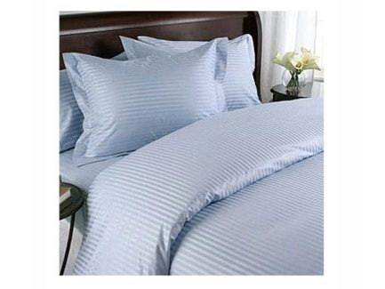 The Bedsheet Factory Classy & Elegant Striped Sky Blue Bed Sheet