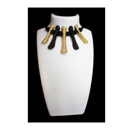 Womens Black and Gold Fancy Fashion Necklace