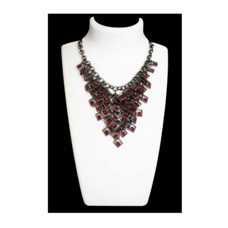 Womens Dark Silver Fancy Fashion Necklace With Red Stones