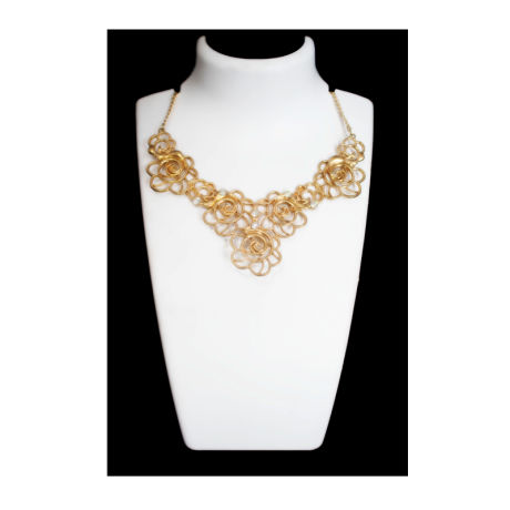 Womens Gold Flower Design Fancy Fashion Necklace
