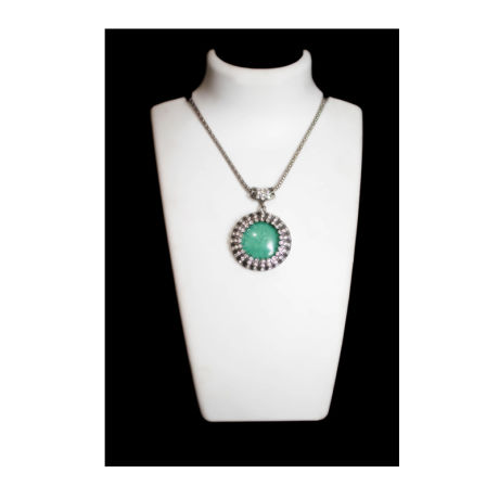 Womens Silver Fancy Fashion Necklace Turquoise Color Stone (RJN08)