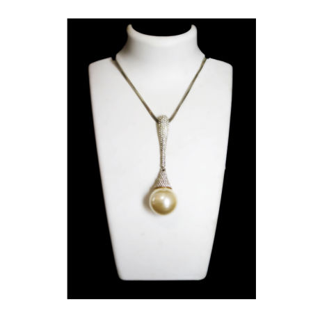 Womens Silver Fancy Fashion Necklace With Stones and Pearl (RJN10)