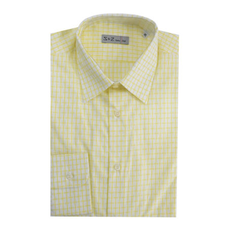 S & Z Italian Style Shirt Yellow With Patterns (40 - 15 3/4 Inch)