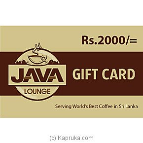 Java Lounge Gift Card Rs. 2000
