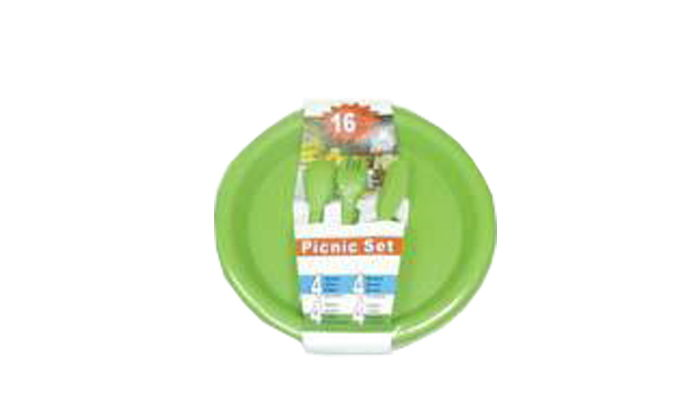 B&B-16PCS PICNIC SET (YELLOW, BLUE, RED,GREEN ASSORTED)