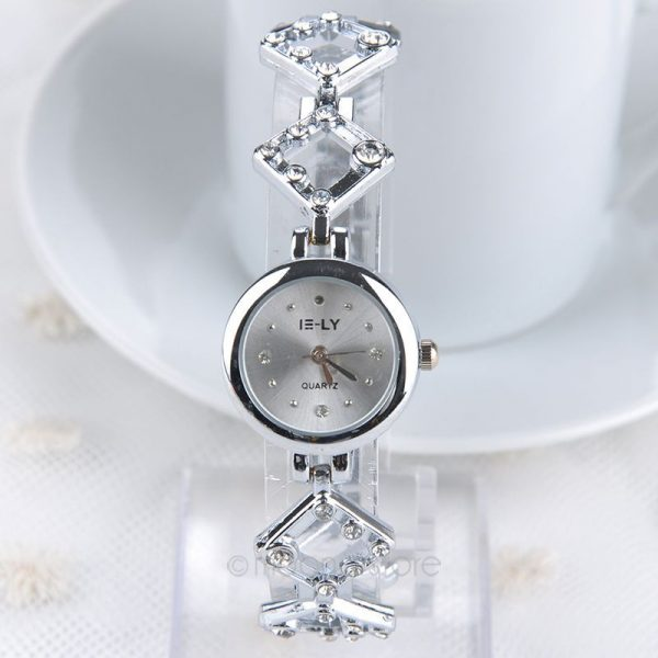 E-LY White Dial Rhinestone Wristwatch