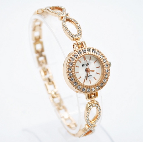 E-LY Ladies Rhinestone Quartz Gold Wristwatch