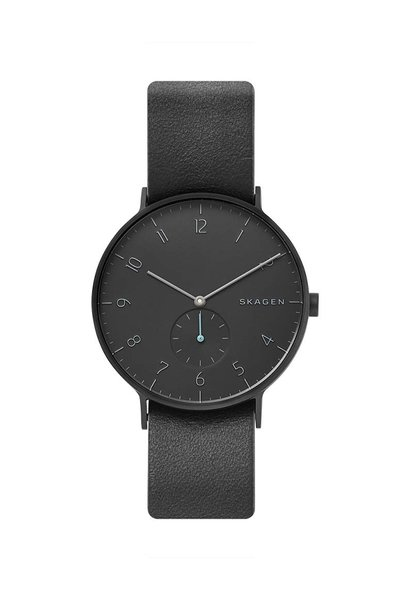 Skagen Aaren Black and Gray Reversible Leather Watch